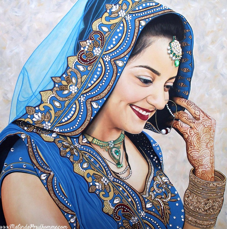 Indian bride Painting, Beauty Art, Indian Bride, Indian Art, Portrait, Indian Portrait, Portrait Artist, Canadian Artist