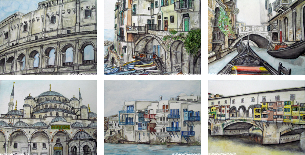 travel, travel artwork, travel paintings, mixed media art, watercolour, charcoal