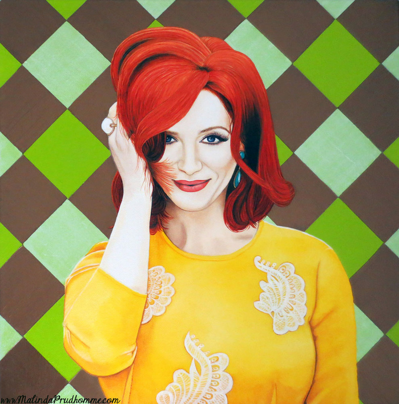 canadian portrait artist, toronto portrait artist, christina hendricks, realistic portraiture, malinda prudhomme, yellow, beauty art, green