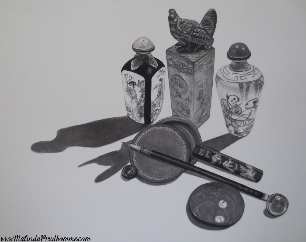 charcoal drawing, custom charcoal artwork, asian items, soft drawing