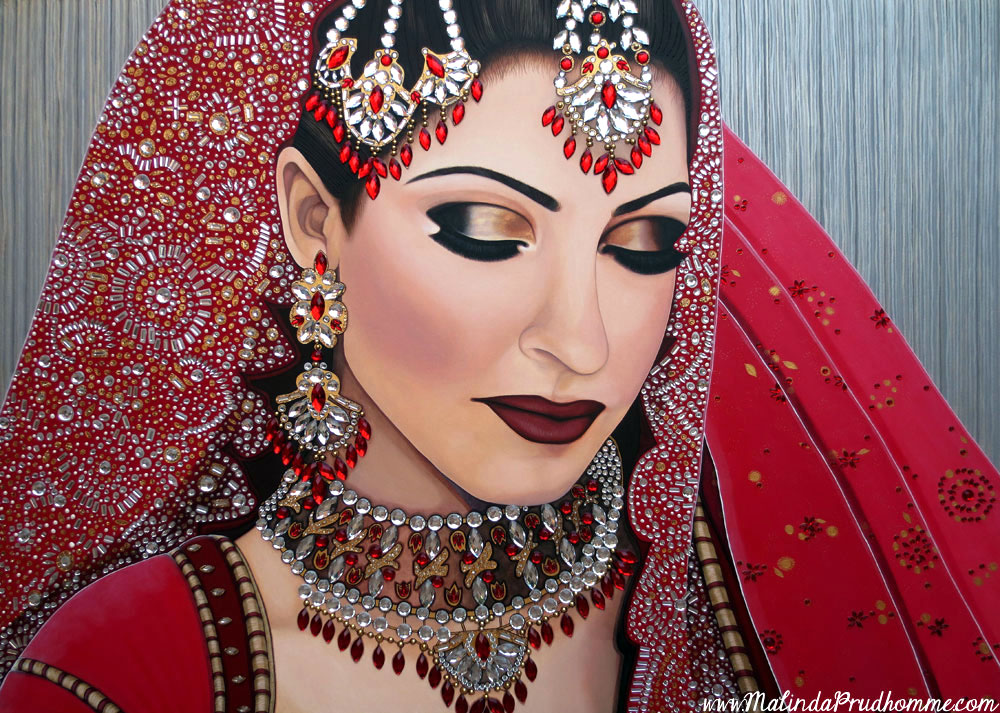 indian portrait, indian beauty, indian woman, indian bride, bride art, bride, sikh bride art, sikh painting, sikh bride painting, indian bride painting, toronto portrait artist, canadian portrait artist, portrait, portrait art, portrait painting, realistic portrait, portraiture, canadian portraits