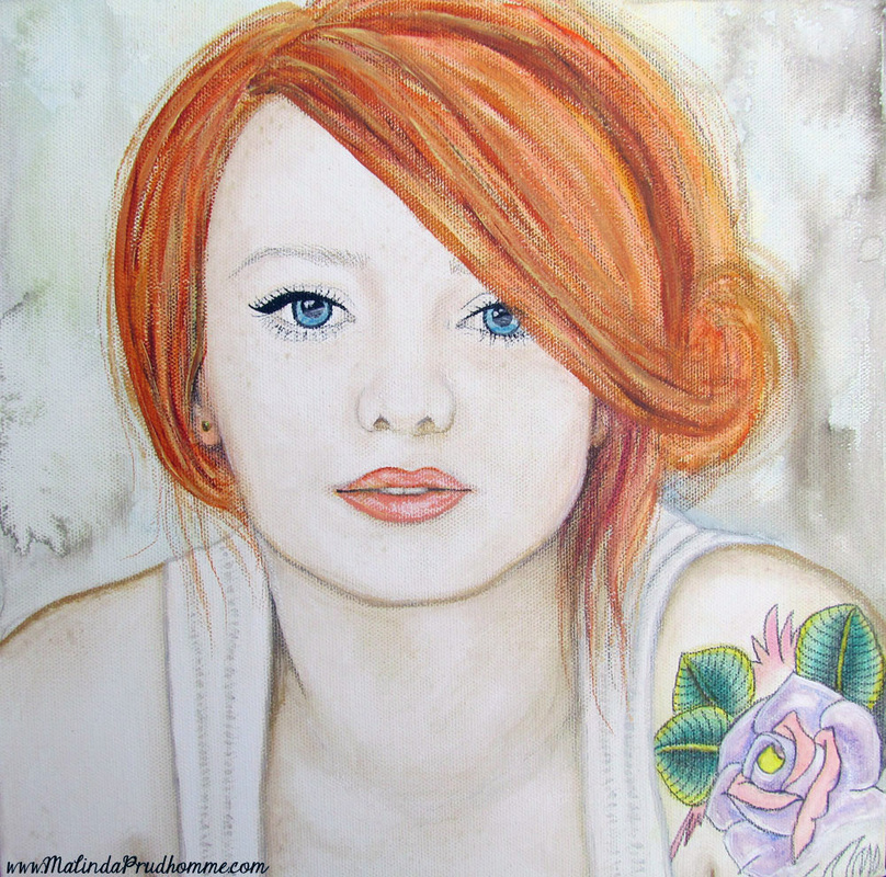 mixed media art, mixed media artist, tattoo, red head, toronto artist