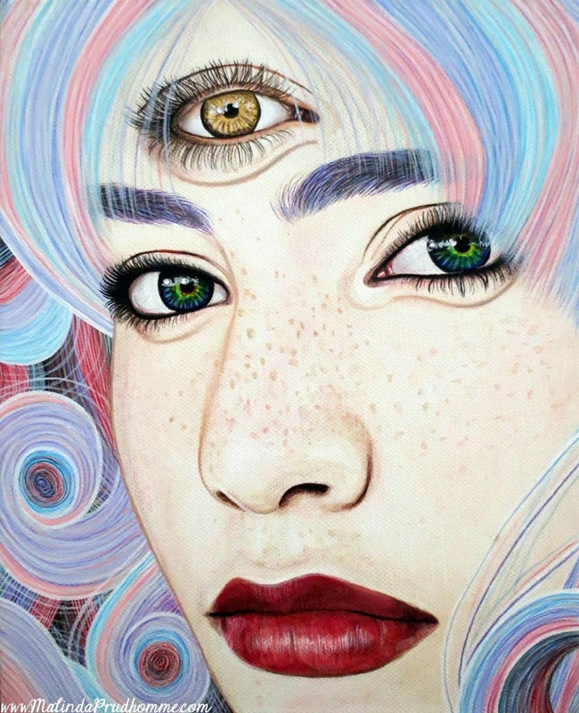 See with Your Soul, Three eyes, Cyclops, beauty art, portraiture, toronto portrait artist,