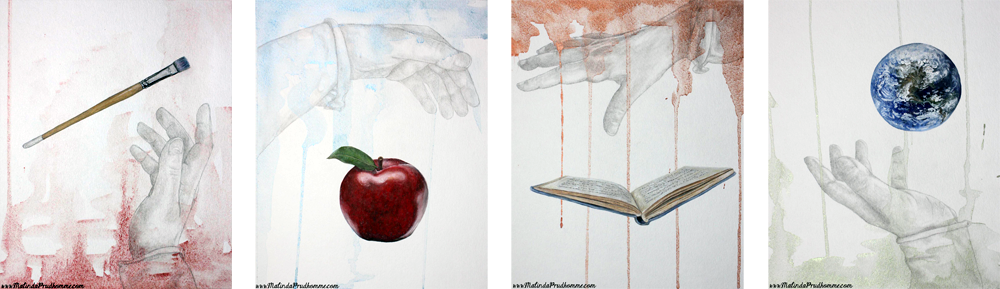 mixed media art. mixed media artist, malinda prudhomme, book, apple, earth. globe, paint brush