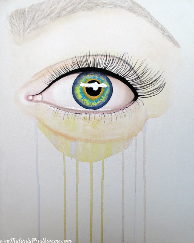 eye painting, speed painting, 1 hour painting, toronto artist. mixed media