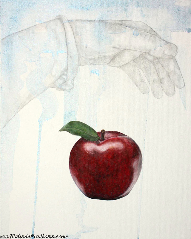 mixed media art. mixed media artist, malinda prudhomme, apple,