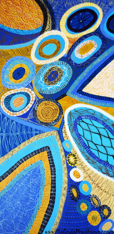 Abstract art, blue artwork, yellow, original artwork