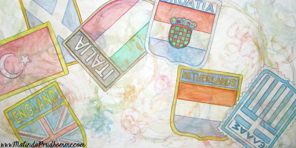 travel art, travel artist, travel, travel patches, england, greece, netherlance, italy, croatia