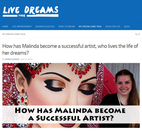 live your dreams, malinda prudhomme, successful artist, full time artist