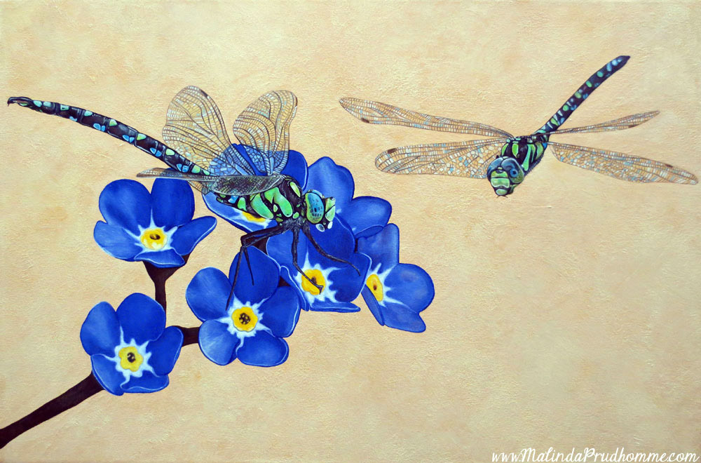 custom art, dragonfly, flower, blue, connected, commissioned artwork, custom artist